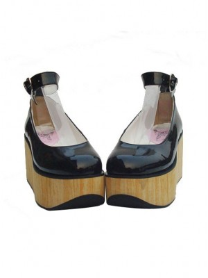 "Black 3.1"" Heel High Sexy Synthetic Leather Point Toe Ankle Straps Platform Girls Lolita Shoes"