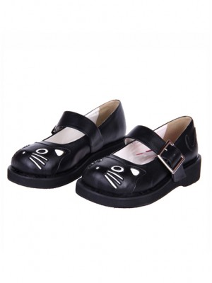 "Black 1.2"" Heel High Gorgeous Patent Leather Point Toe Ankle Straps Platform Girls Lolita Shoes"