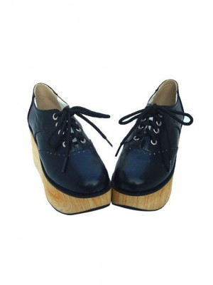 "Black 3.1"" Heel High Gorgeous Patent Leather Point Toe Ankle Straps Platform Girls Lolita Shoes"