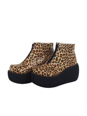 """Leopard Brown 3.1"""" Heel High Special Synthetic Leather Round Toe Ankle Straps Platform Girls Lolita Shoes"""