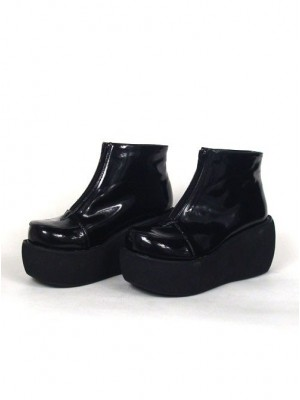 "Black 3.1"" Heel High Special Patent Leather Round Toe Ankle Straps Platform Lady Lolita Shoes"