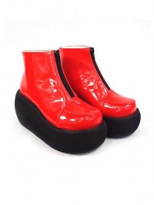 "Red 3.1"" Heel High Sexy Suede Round Toe Ankle Straps Platform Lady Lolita Shoes"