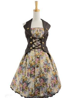 Gothic Floral Lace Trim Terylene Sleeveless Lolita Dress