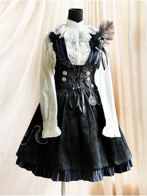 Black Stylish 100% Cotton Women Lolita Dress