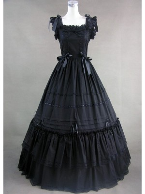 Classic Black Sleeveless Lolita Dress With Ruffled Ribbon Cotton
