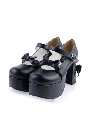 "Black 3.7"" High Heel Classic Patent Leather Round Toe Strap Bow Platform Girls Lolita Shoes"