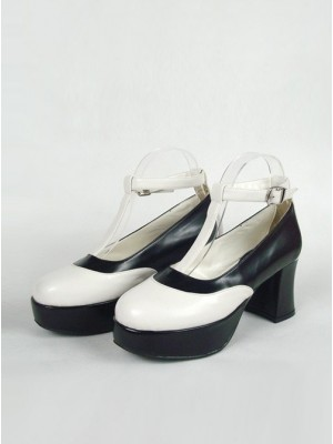 "Black & White 2.9"" Heel High Stylish Suede Round Toe Ankle Straps Platform Girls Lolita Shoes"