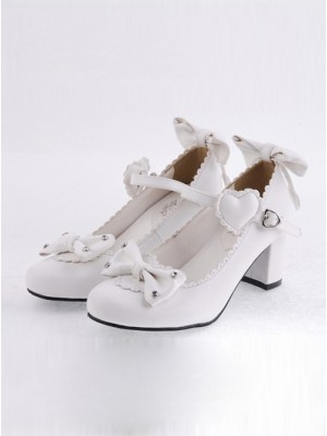 "White 2.6"" Heel High Lovely Polyurethane Point Toe Bowknot Platform Women Lolita Shoes"