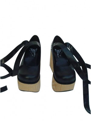 "Black 3.7"" Heel High Beautiful PU Round Toe Ankle Straps Platform Women Lolita Shoes"