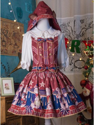 The Royal Teddy Bear Band Sweet Lolita Shoulder Straps Hooded Skirt