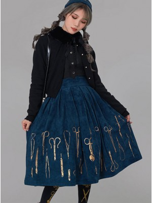 Bronze Surgical Equipment Vintage Navy Blue Classic Lolita Skirt