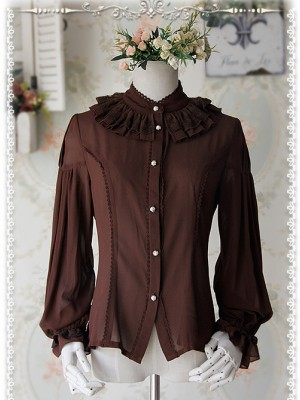 Swan Lake's Love Series Coffee Color Chiffon Long Puff Sleeve Classic Lolita Shirt