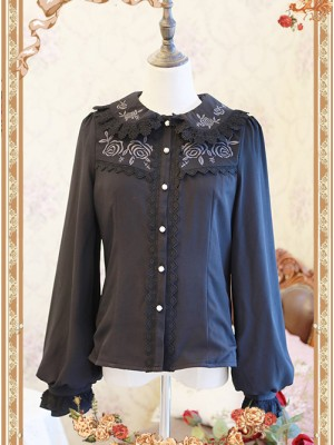 Rose Garden Series Black Thickened Chiffon Embroidery Classic Lolita Shirt