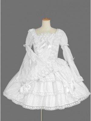White Long Sleeves Lace Bows Gothic Lolita Dress