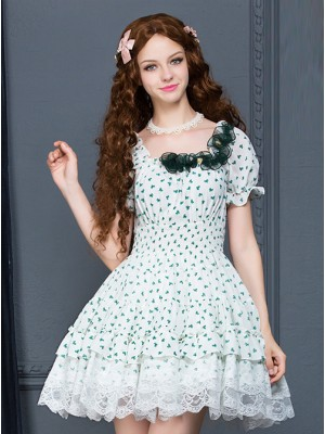 White Chiffon Green Bowknot Printing Sweet Lolita Short Sleeve Dress