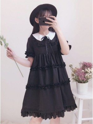 Black Cute Ruffles Sweet Lolita Short Sleeves Dress