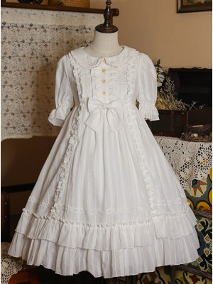 Pure Color Elegant Ruffles High Waist Short Sleeve Lolita Dress