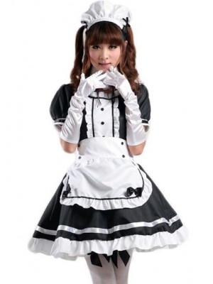 Black Cute Bowknot Maid Dress Costume