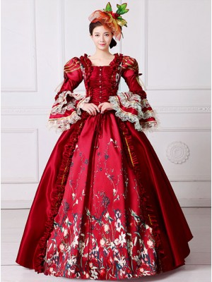 Gules Queen Of England European Retro Court Dress