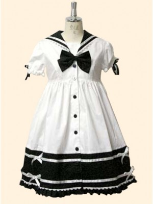 Cute Navy Collar Short Sleeve School Lolita Dress