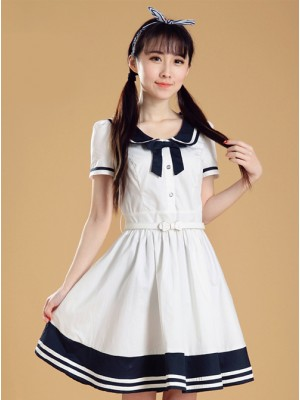 Maiden Dress Navy Style Short Sleeve School Lolita Dress