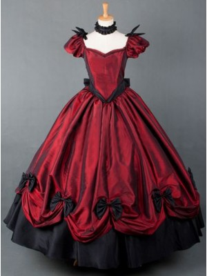 Victorian Retro Wine Red Bowknot Gothic Lolita Prom Long Dress
