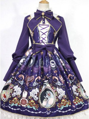 The Opera House at Midnight ~Lolita Stand Collar Long Sleeves OP Dress~Dark Blue