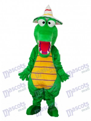Crocodile avec chapeau Mascotte Costume adulte Animal