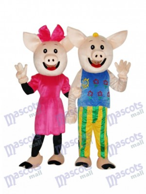 Cacao Couple Cochon Mascotte Costume Adulte Animal