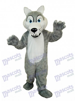Cheveux longs Loup Mascotte Costume adulte Animal
