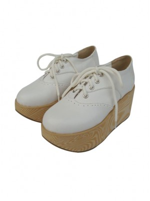 "White 3.1"" Heel High Classic Patent Leather Point Toe Ankle Straps Platform Girls Lolita Shoes"