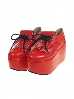 """Red 3.9"""" Heel High Sexy Patent Leather Point Toe Ankle Straps Platform Girls Lolita Shoes"""