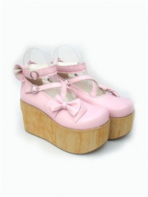 "Pink 3.9"" Heel High Glamorous Suede Round Toe Cross Straps Platform Lady Lolita Shoes"