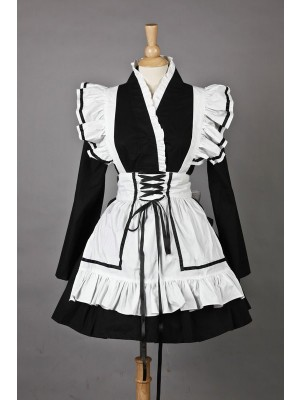 Long Sleeves Beautiful Cotton Cosplay Maid Costume