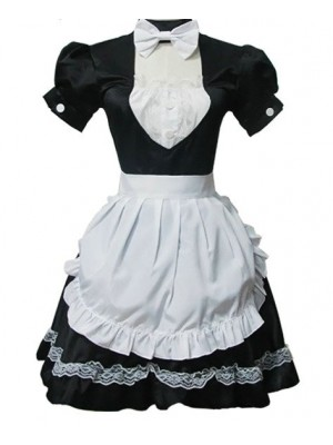 Black Short Sleeves Lace Cotton Cosplay Maid Costume