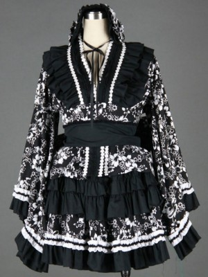 Black And White Long Sleeves Cotton Gothic Lolita Dress