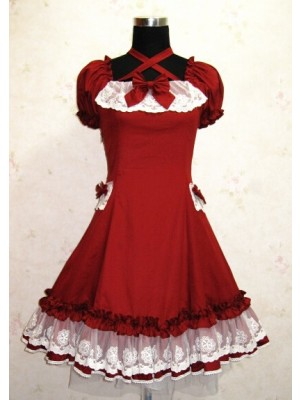 Cute Short Sleeves Red Cotton Lolita Dress