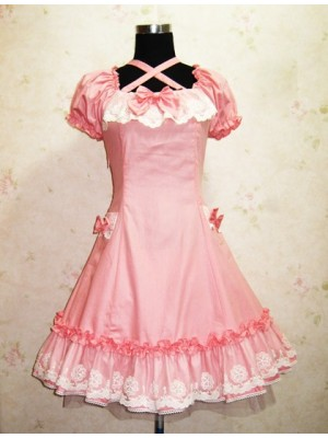 Cute Short Sleeves Pink Cotton Lolita Dress