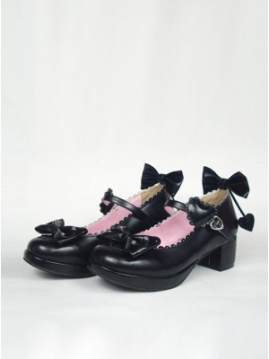 "Black 1.8"" Heel High Romatic Synthetic Leather Point Toe Bow Decoration Platform Girls Lolita Shoes"