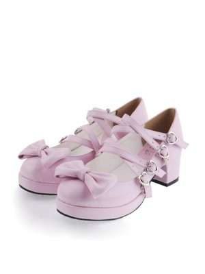 "Pink 1.8"" Heel High Cute Point Toe Bow Decoration Platform Girls Lolita Shoes"