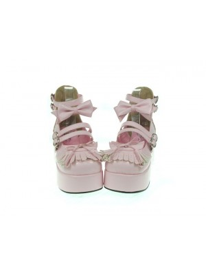 "Pink 2.8"" Heel High Gorgeous Synthetic Leather Round Toe Bow Decoration Platform Lady Lolita Shoes"