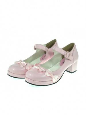 "Pink 1.8"" Heel High Classic Patent Leather Point Toe Cross Straps Platform Women Lolita Shoes"
