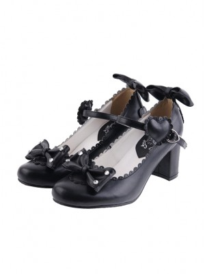 "Black 2.6"" Heel High Gorgeous Patent Leather Point Toe Bowknot Platform Women Lolita Shoes"