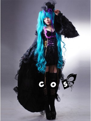 Vocaloid Miku Black Cosplay Lolita Dress And Hat Costume