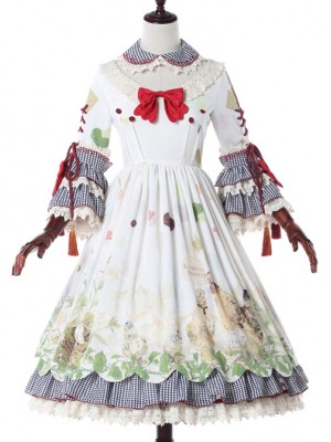Grass Machicken Series OP Detachable Long Sleeves Sweet Lolita Dress