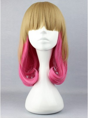 Harajuku Style Lovely Wave Curly Hair Light Brown And Pink Cosplay Lolita Wig