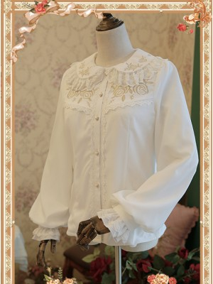 Rose Garden Series White Thickened Chiffon Embroidery Classic Lolita Shirt