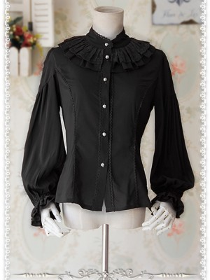 Swan Lake Of Love Series Chiffon Little Standing Collar Classic Lolita Long Sleeves Shirt