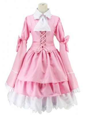 Pink Long Sleeves Bowknot Cosplay Costume Sweet Lolita Dress
