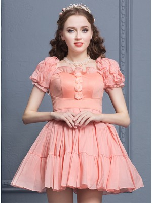 Elegant Retro Ruffles Classic Lolita Short Sleeves Dress